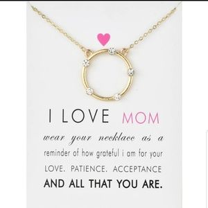 "Jewelry - Gold "" I Love Mom "" Halo Charm Pendant Necklace"